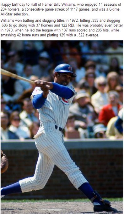 Happy Birthday to Hall of Famer Billy Williams!