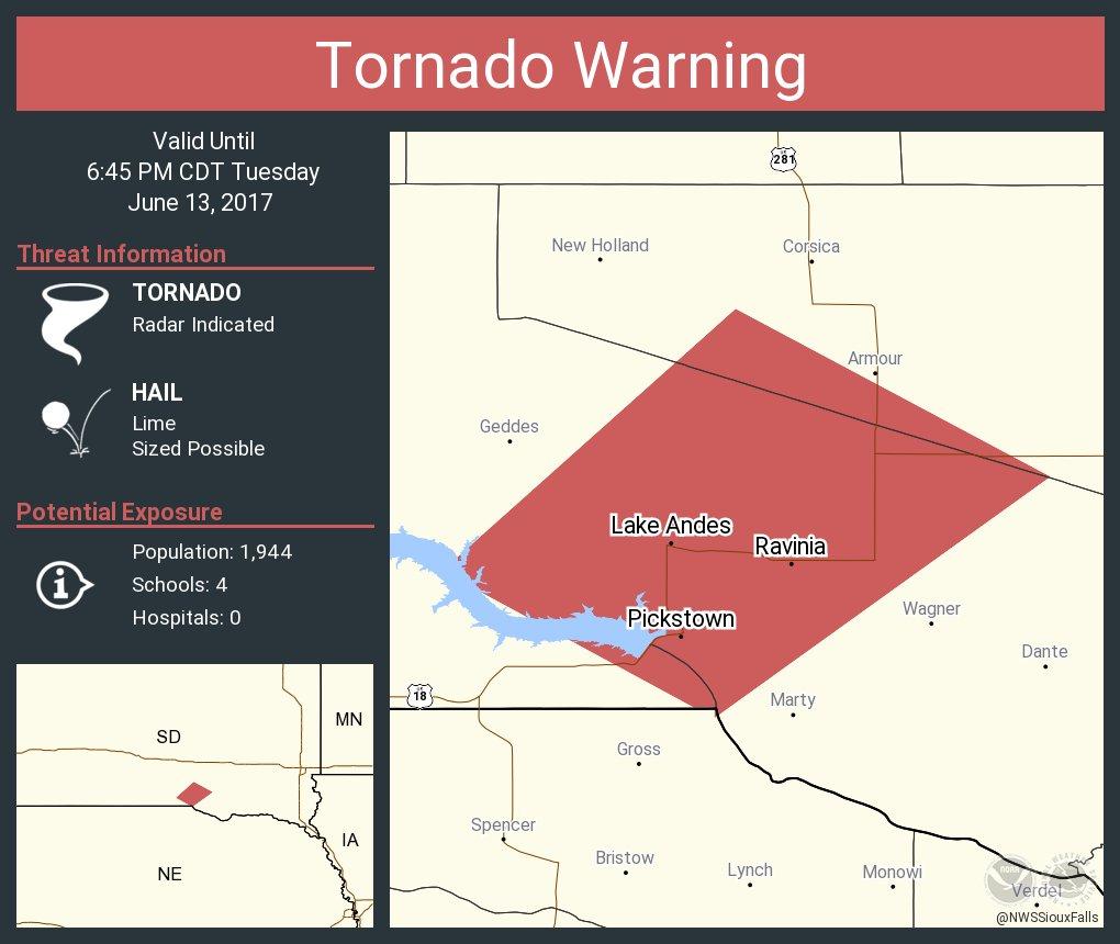 Tornado Warning Continues For Lake Andes Sd Pickstown Ravinia Until 6