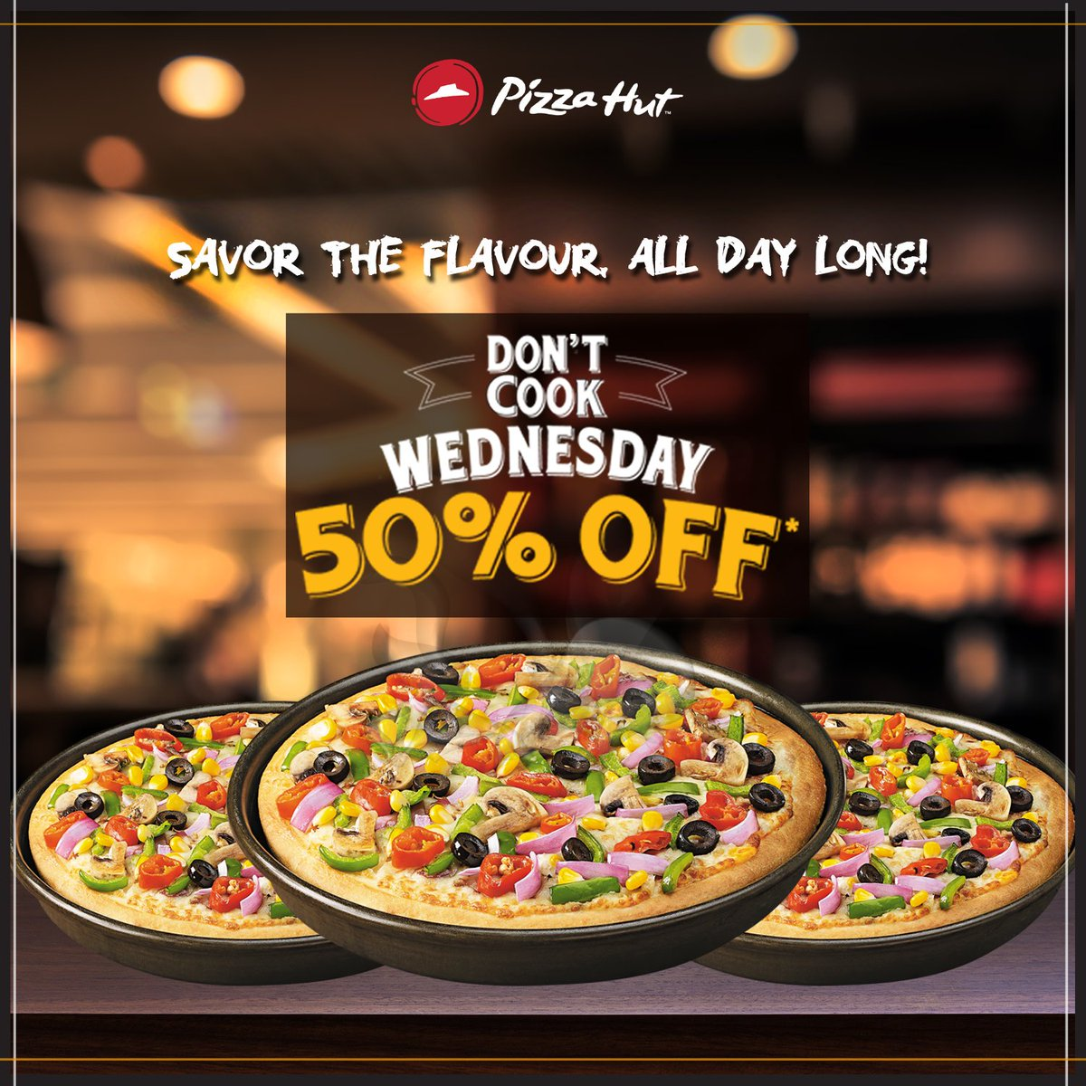 A delightful break from all the cooking Enjoy 50 off on the tastiest pan pizzas today. DontCookWednesday https t