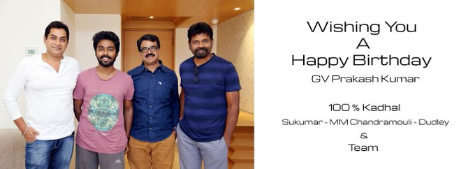 100% Kadhal Team Wishing GV Prakash Kumar Happy Birthday Poster :