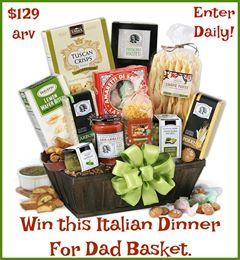 Gourmet Gift Basket- Italian Dinner for Dad $129 arv-1-US Ends 6/20