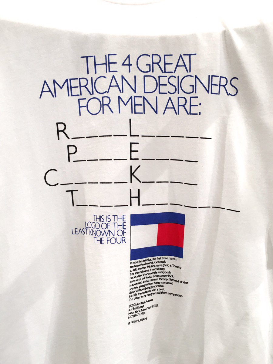 RT @wwd_jp: 【ピッティ取材】「トミー ヒルフィガー」の最新コレクションにプリントされたTシャツから問題です!空欄を埋めよ!アメリカのメンズにとって偉大な4人のデザイナーとは?2問目が難問⁉︎  #TOMMYHILFIGER #PITTIUOMO https://t.…