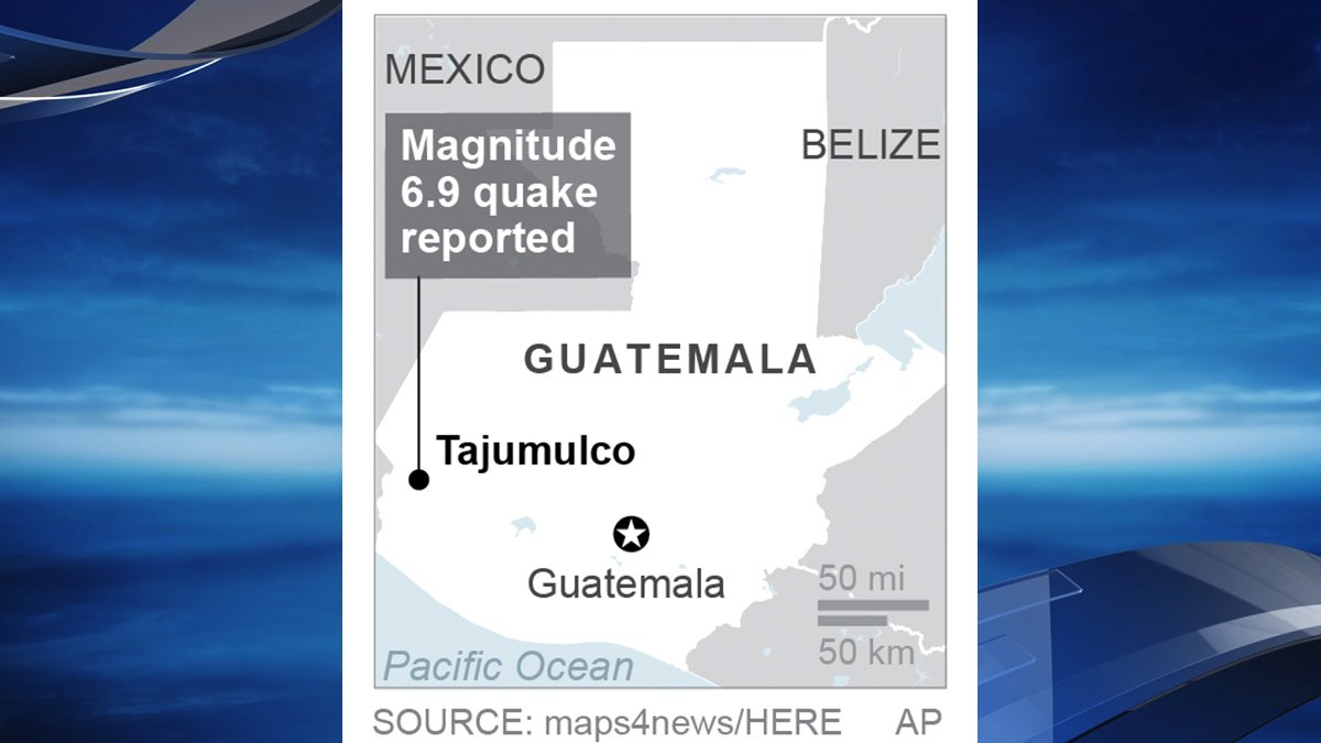 Magnitude 6.9 earthquake reported near Guatemala/Mexico border