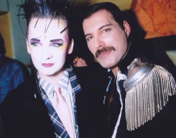Happy Birthday Boy George 56 today pictured with the great Freddie Mercury