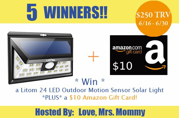 5 Winners! Litom LED Outdoor Motion Sensor Solar Light + $10 Amazon Gift Card Father's Day Giveaway! $250 TRV!