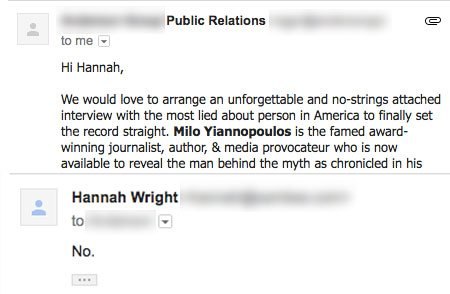 RT @FullFrontalSamB: .@HannahAWright doesn't normally reply to PR emails, but... https://t.co/0Up7rLrrvk