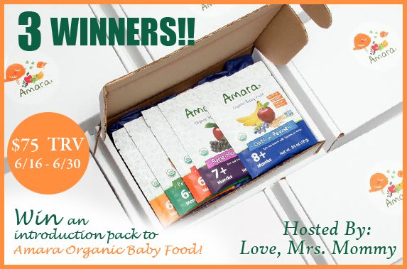 Amara Organic Baby Food Introduction Pack Giveaway! 3 Winners! $75 TRV!