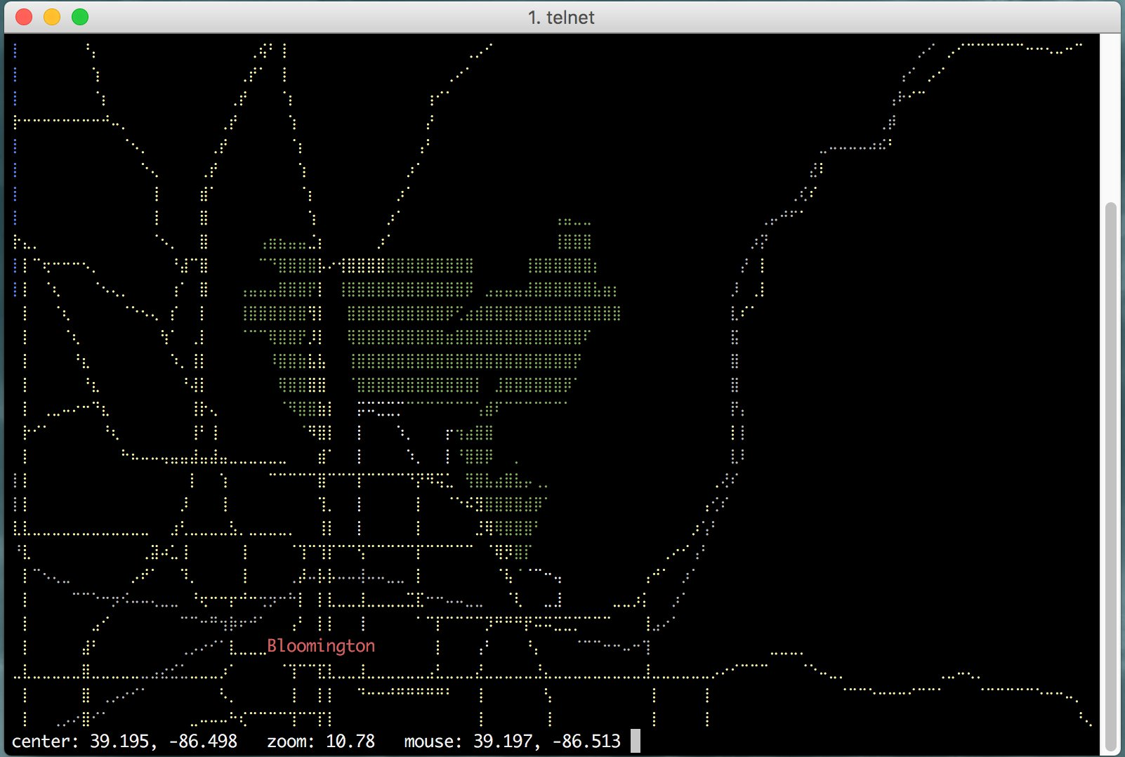 telnet mapscii.me # For maps in your terminal from OpenStreetMap. Yes really. https://t.co/FckeNVD5Nm