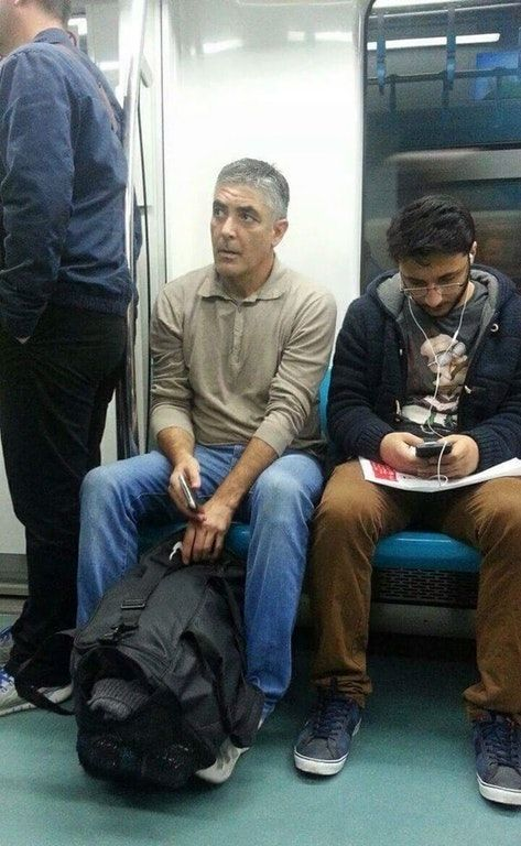 Man in metro who looks much like George Clooney (Turkey): George Clone-y! https://t.co/F9fhr8h0T2