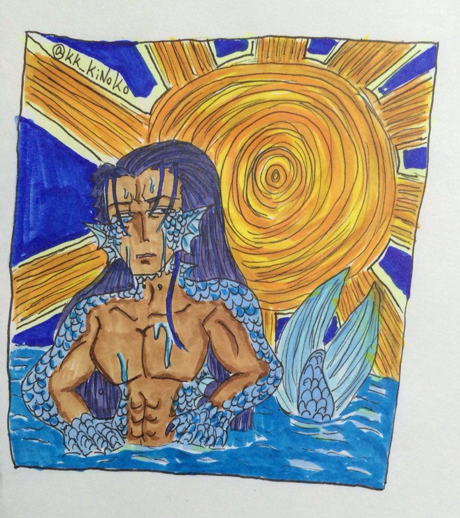 お題【日焼け】&【炎天下】「…流石に暑いな」人間界の暑さで日焼けした大悪魔レヴィアタンです!#おじさん版深夜の真剣お絵描
