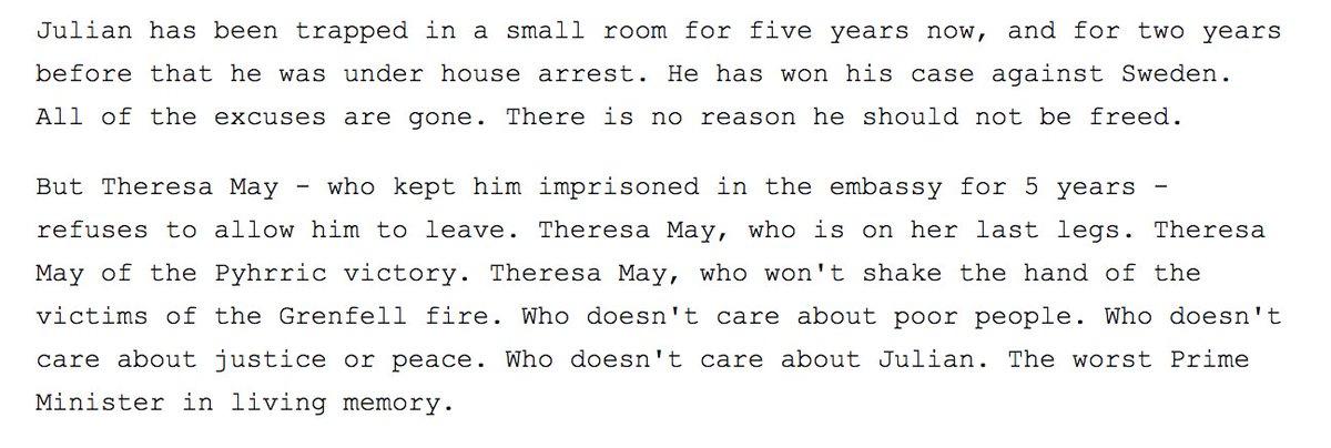 RT @wikileaks: Pamela Anderson calls Theresa May