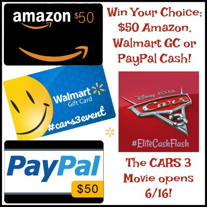 $50 Amazon/Walmart/PP-1-WW-Cars 3 -Ends 6/24