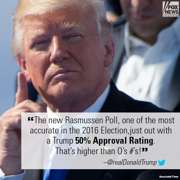 Earlier this morning, President @realDonaldTrump tweeted about a poll showing him at a 50 percent approval rating. https://t.co/or96sqTFne