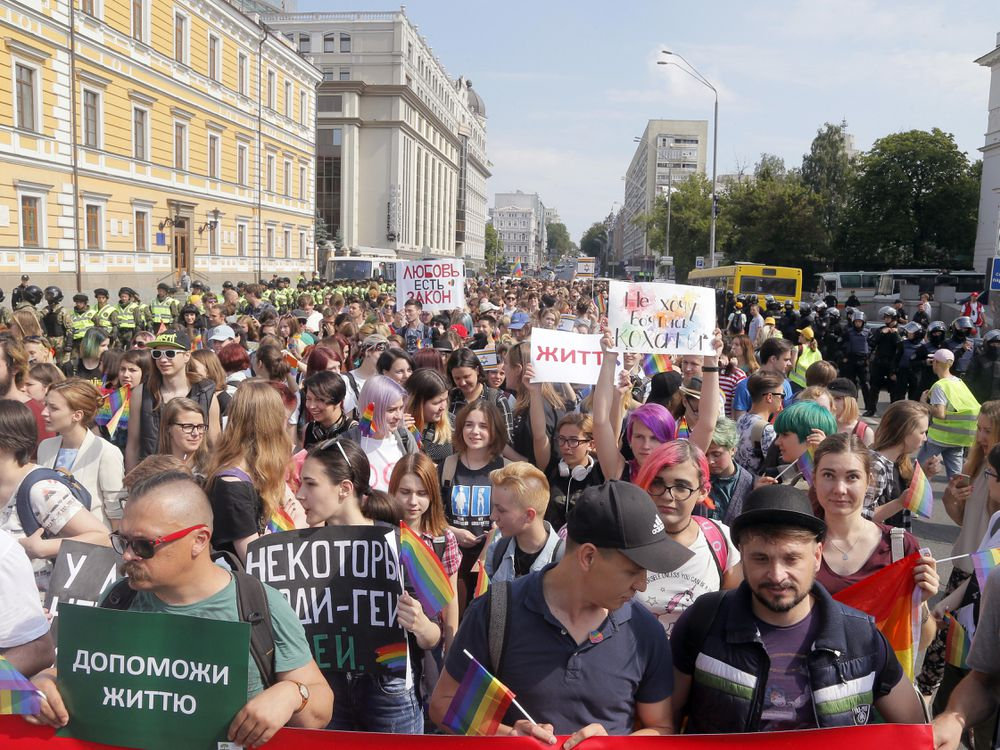 Amid a country and region in turmoil, thousands attend gay pride march in Ukraine's capital