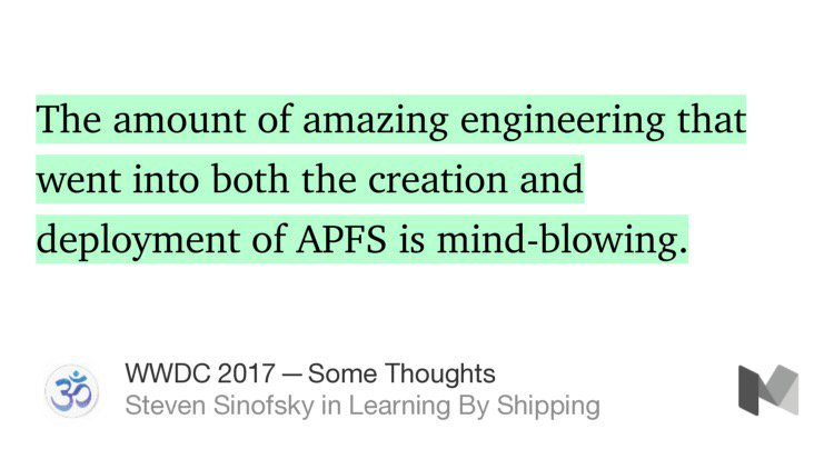 Definitely agree with @stevesi — what Apple has done & is doing with APFS is mind-boggling. https://t.co/2QCBiUHnOV https://t.co/GBYEdhtHCq