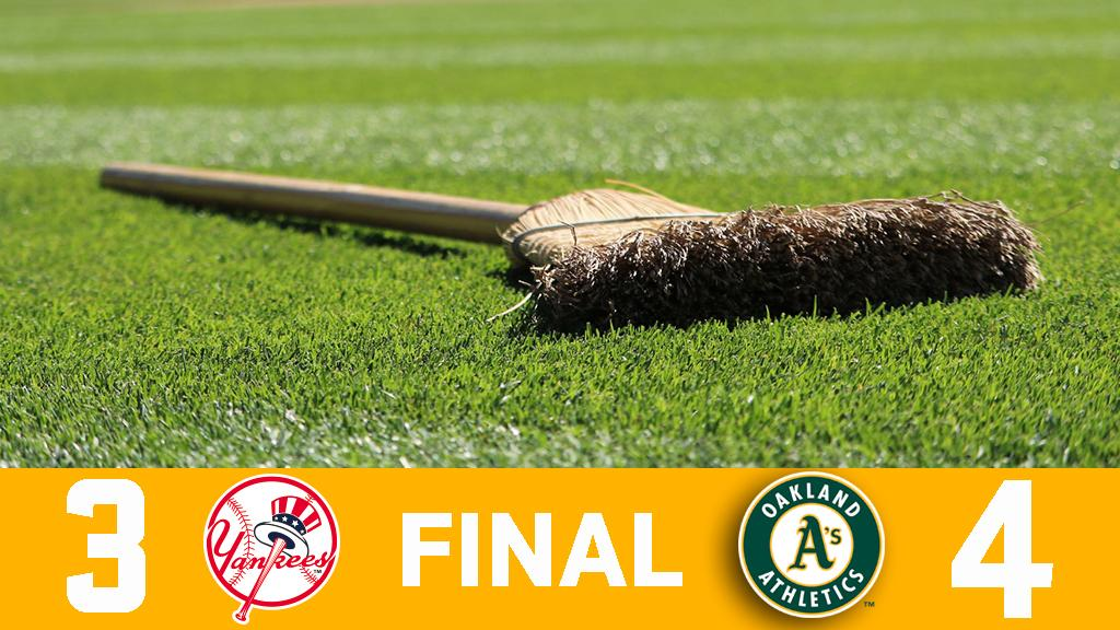 RECAP: A's complete four-game sweep of Yankees. https://t.co/1LP0kCIYeJ #RootedInOakland https://t.co/7P5G1mHpXd