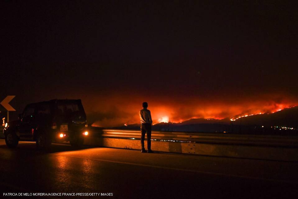 ポルトガルの森林火災、少なくとも57人が死亡 【写真】 ポルトガル中部で17日、大規模な森林火災が発生し、少なくとも57人が死亡した