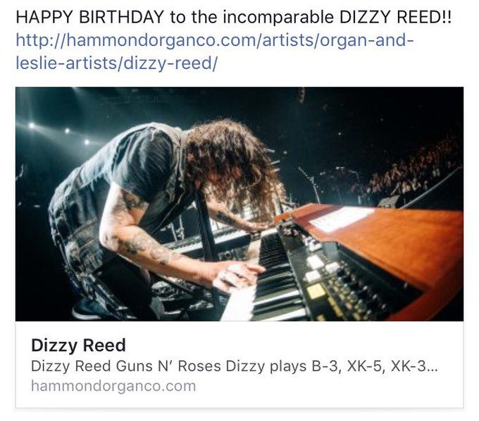 Happy birthday to our Hammond brother Dizzy Reed today!