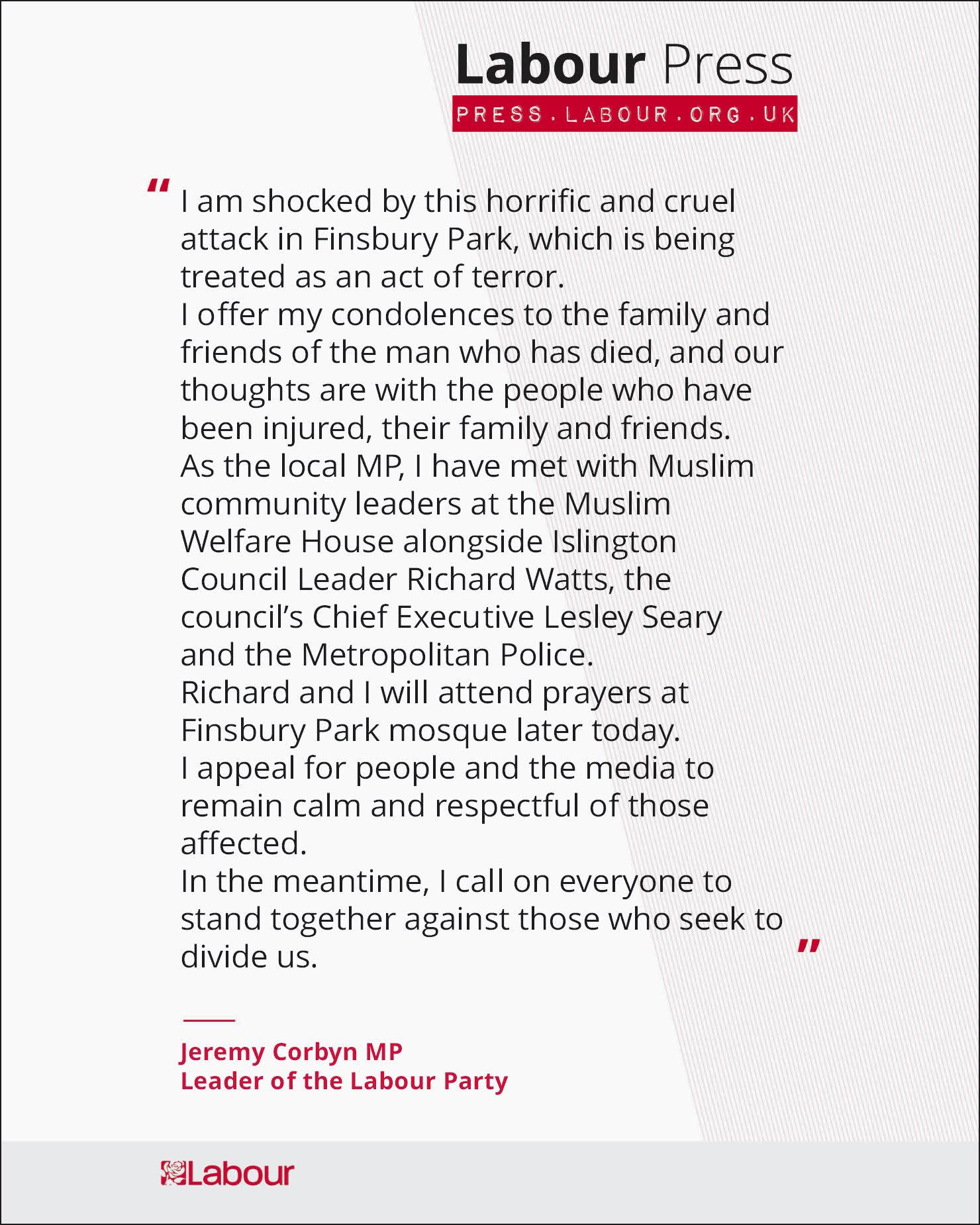 .@jeremycorbyn statement on van attack in Finsbury Park https://t.co/COAKXBKg0r https://t.co/tqKi1ffPdu