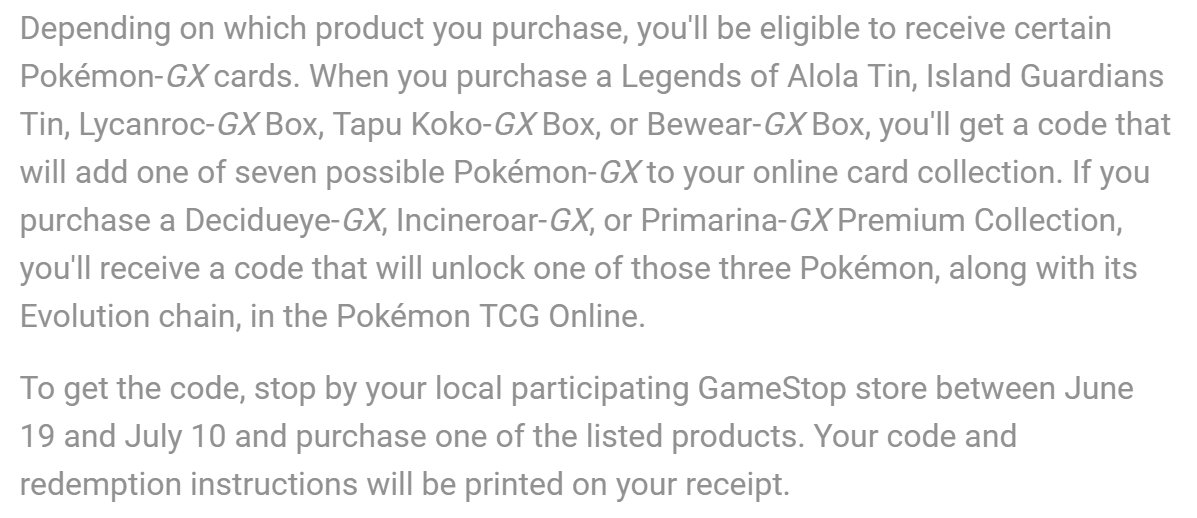 tweet-Gamestop is giving out PTCGO codes for 1 of 10 Pokemon-GX if you purchase select TCG products between 6/19 and 7/10. https://t.co/QZf3zqvgXi