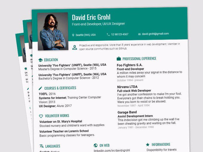Resume Profile Page   Template by Louise Gabriela P. Santos freebie