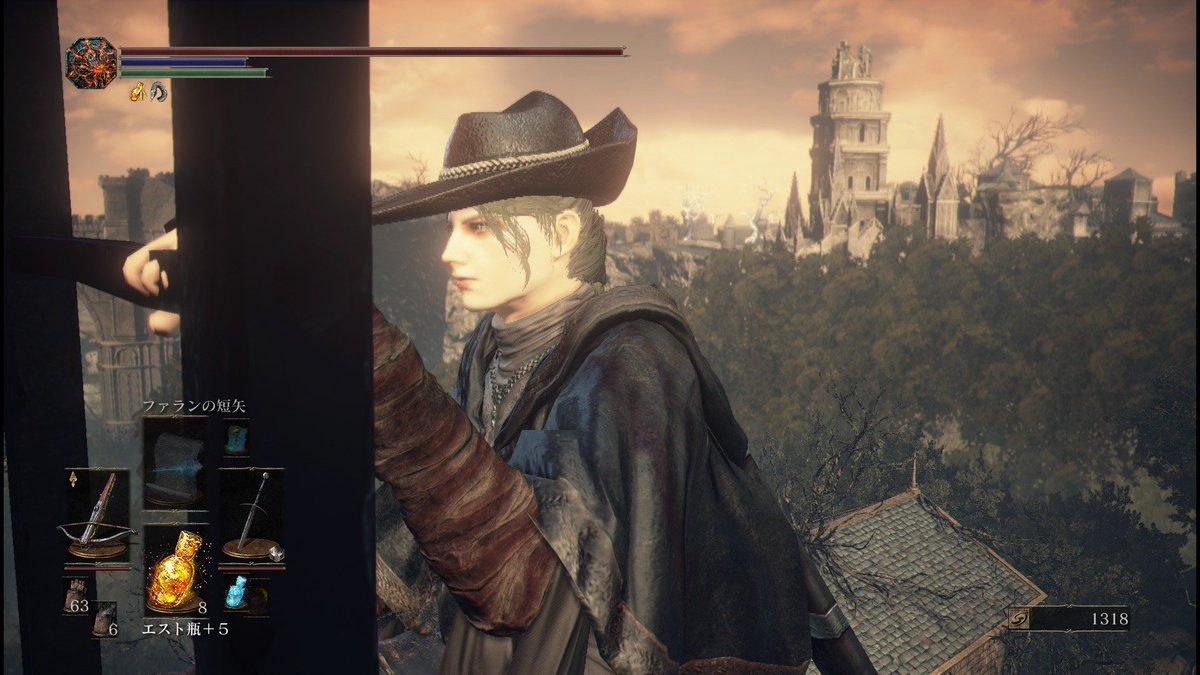 時計塔のマリアっぽい感じでダクソ3キャラ作ってる名前はThe Old Hunterとりあえず鬼斬姥断を装備させる予定どう