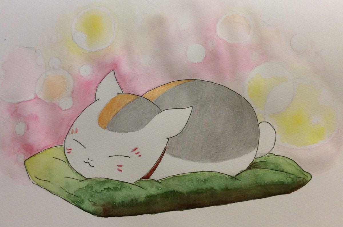 フカフカの座布団で寝るニャンコ先生  #夏目友人帳明日、陸期最終回…。さみしいな。ぜひ、漆期を!