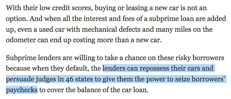 NYT  The Car Was Repossessed   debt remains