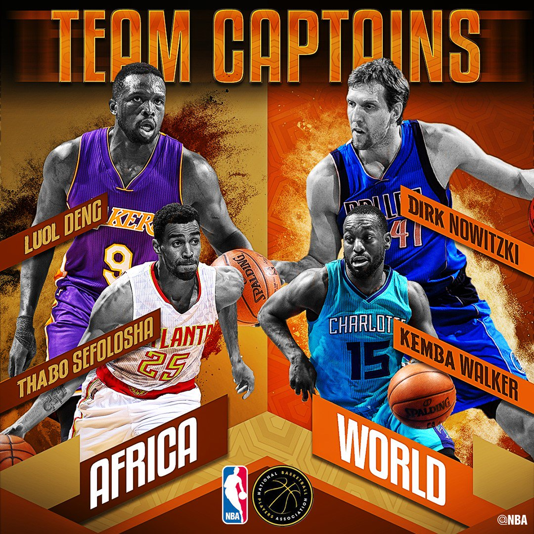 #NBAAfricaGame Captains Announced!   @swish41 @KembaWalker @LuolDeng9 & @ThaboSefolosha:  https://t.co/6oKsut4Phe https://t.co/UDv3ttYYpp