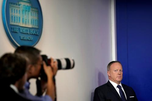 Sean Spicer held a press briefing Monday, but you won't hear or see it
