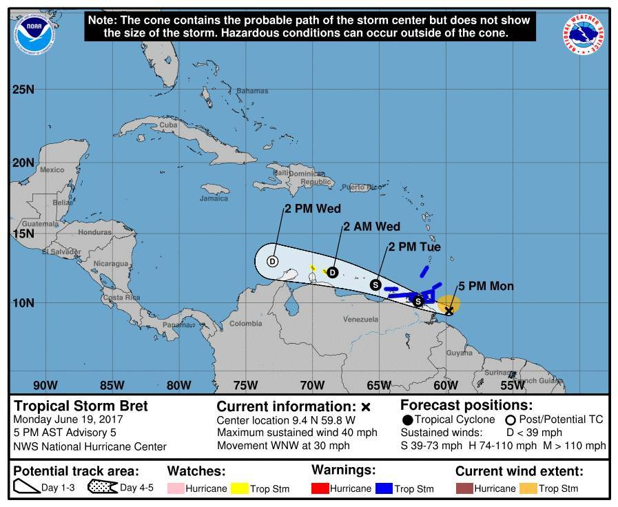 Upgraded to Tropical Storm Bret