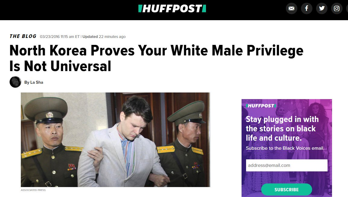 Oh @HuffPost... So classy. Deleting part of your old race baiting story now that Otto Warmbier is dead.