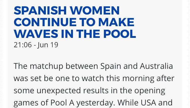 @wcbu2017 #ESP #WMN &quot;continue to make waves in the pool.&quot; #wcbu2017 https://t.co/vxZV3qmPse <a href='https://twitter.com/sludgebrown/status/876956322641719296/photo/1' target='_blank'>See original &raquo;</a>