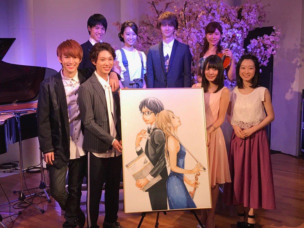 舞台「四月は君の嘘」記者発表会です。有馬役の安西慎太郎さん、かをり役の松永有紗さん以下、キャスト、演奏者勢ぞろいです。ち