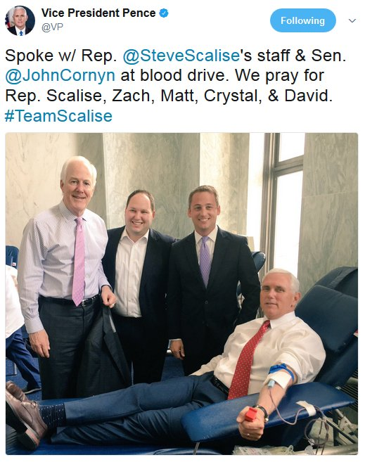 .@VP Pence donates blood to support @SteveScalise, others injured in baseball shooting