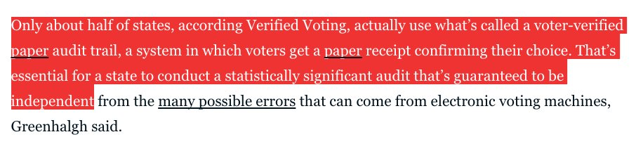 And a full half of states don't really have a real audit trail for their votes. https://t.co/EgVhNEaB9u https://t.co/hkCwi9p0Ai