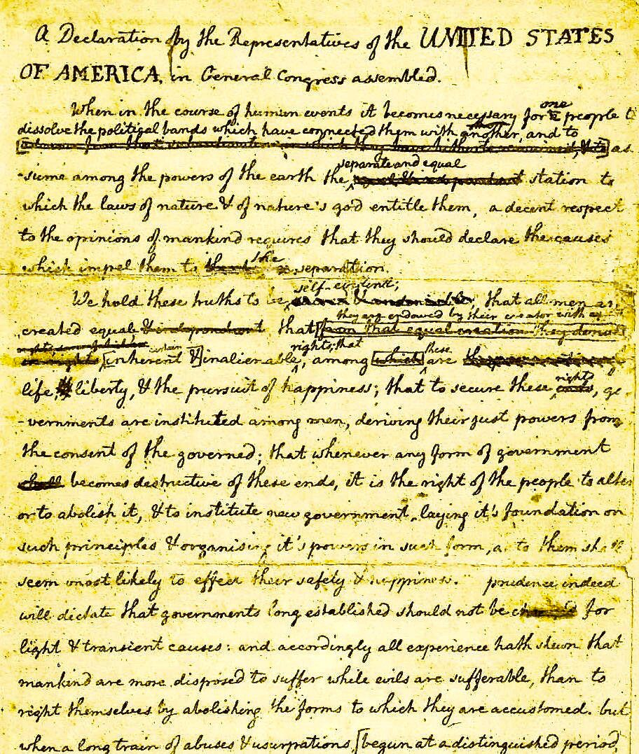 "Thomas Jefferson's ""Original Rough Draught"" of Declaration of Independence (with revisions by John Adams & Benjamin Franklin): https://t.co/Csv0pbLSIm"
