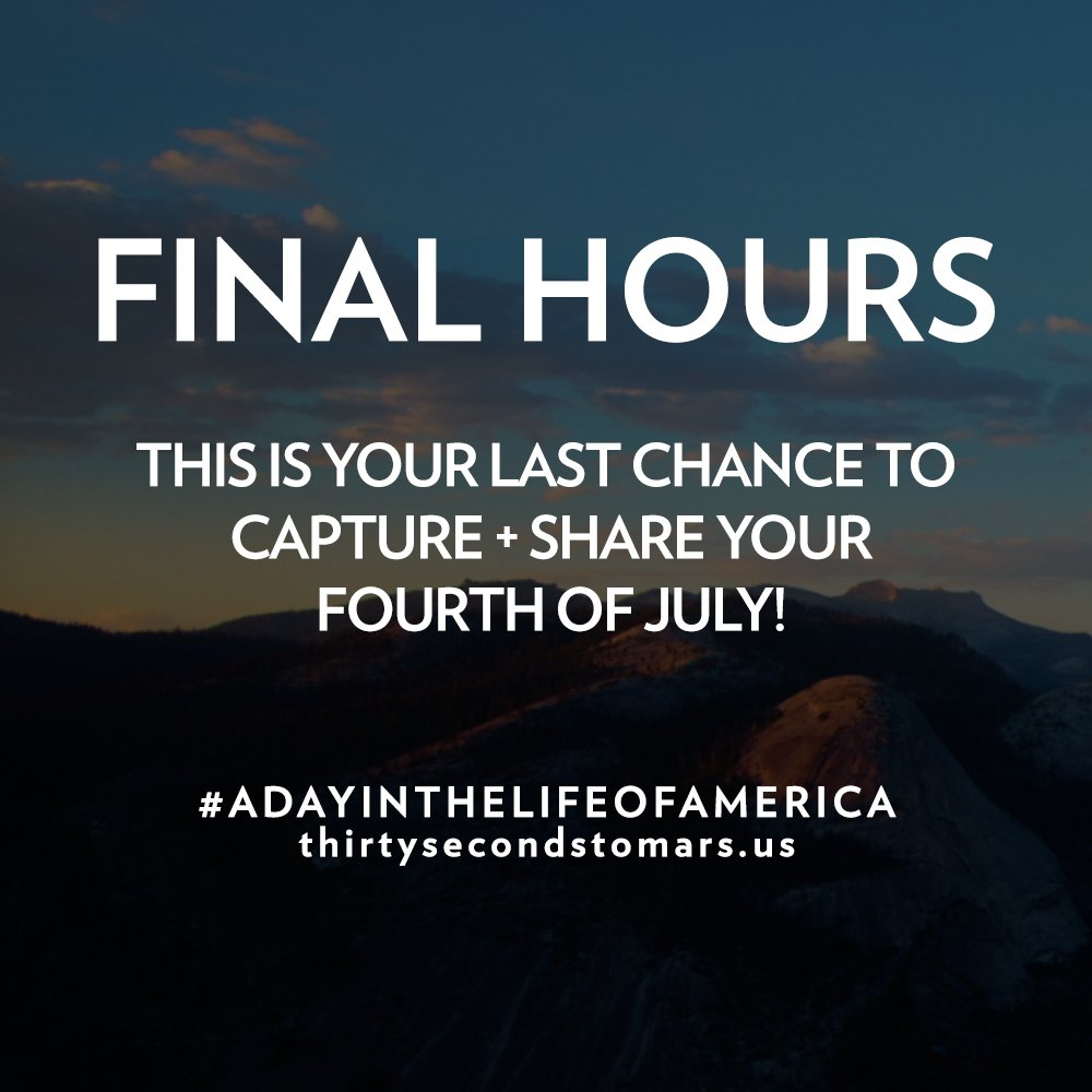 FINAL HOURS to capture your #4thOfJuly. https://t.co/knO82uhxTy #ADayInTheLifeOfAmerica https://t.co/MIeDnpEWCm
