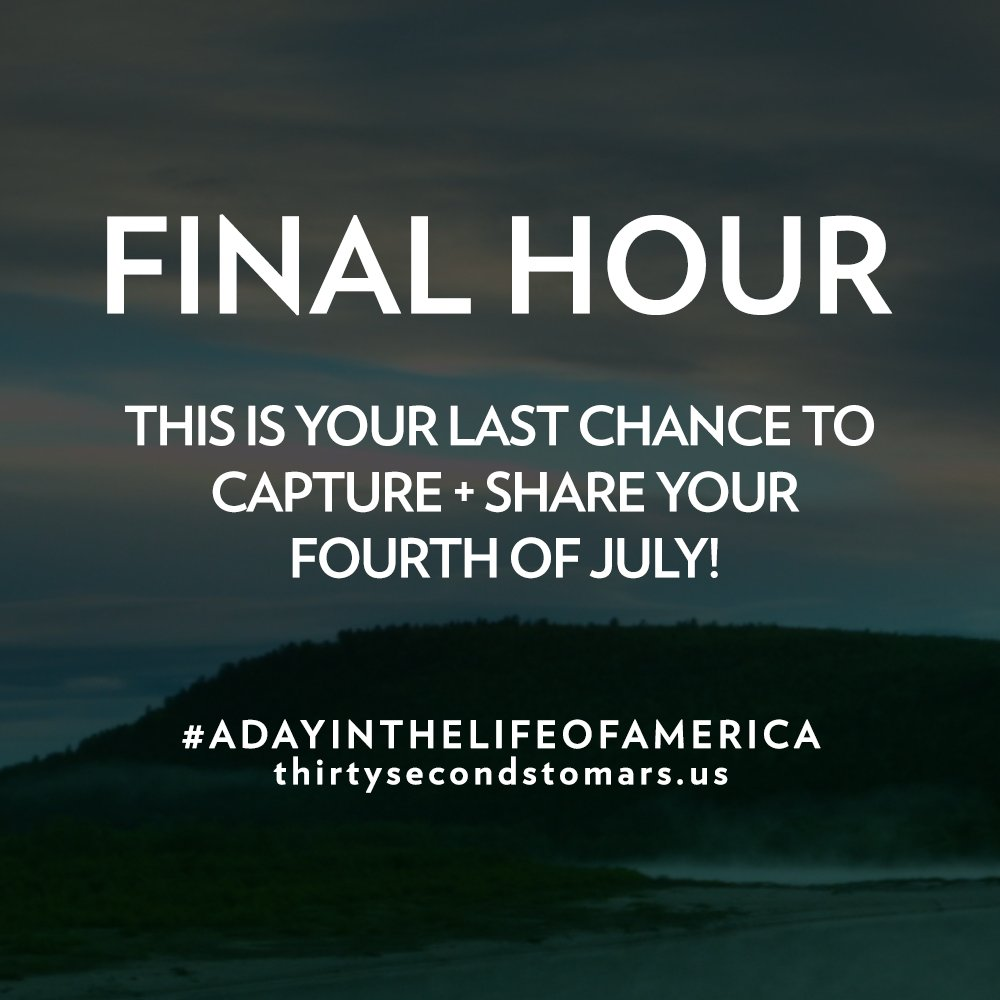 FINAL HOUR! Make it count + be a part of #ADayInTheLifeOfAmerica with us: https://t.co/knO82uhxTy #4thOfJuly https://t.co/lMC9EPiWh9