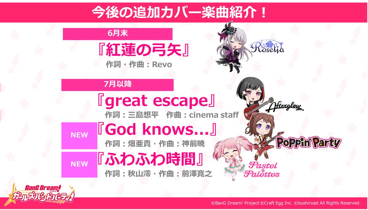 【速報】今後追加されるカバー楽曲が決定😍🎵「紅蓮の弓矢」「great escape」「God knows…」「ふわふわ時