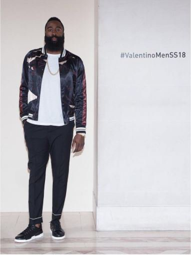 .@JHarden13 from @HoustonRockets attended the #ValentinoMenSS18 Show wearing a #Valentino #Panther Souvenir Jacket. https://t.co/c9zJEa2xP0
