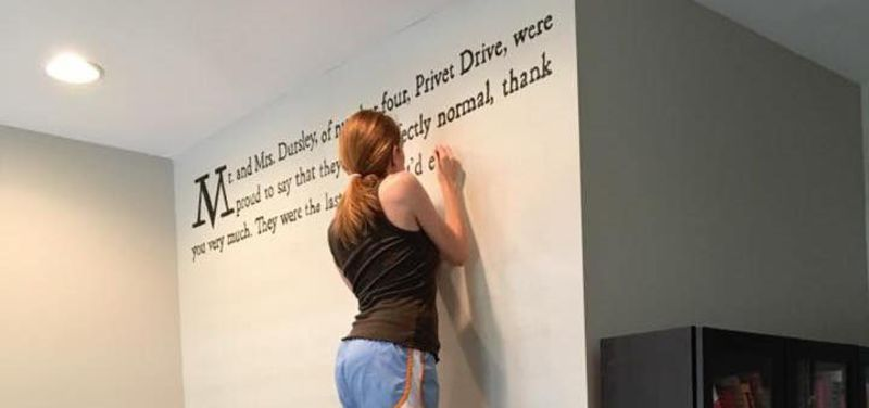 This woman painted the first page of Harry Potter on her wall and it looks
