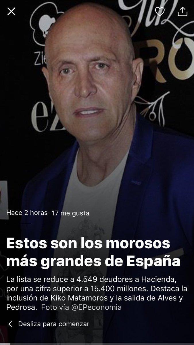 RT @Al_terado: Entre los morosos de España, Kiko Matamoros. Ya sabemos por qué se opera tanto. https://t.co/SgT8moCyhU