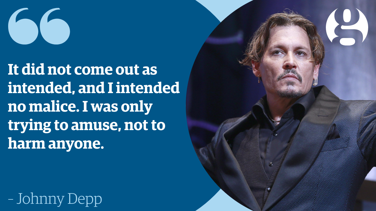 Johnny Depp has apologised for his 'bad joke' about killing Donald Trump https://t.co/YPvOoe0Gk5 https://t.co/bV6XWpgARl