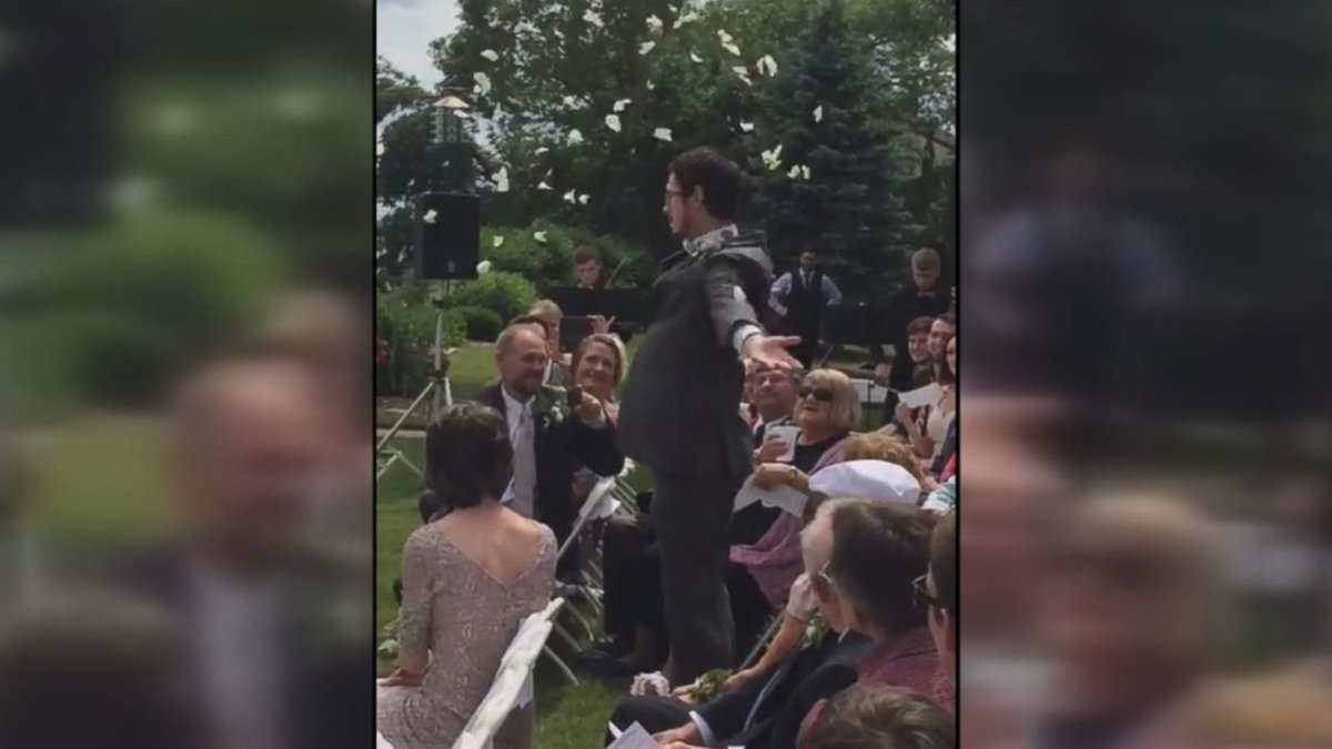 'Flower man' steals the show at cousin's wedding