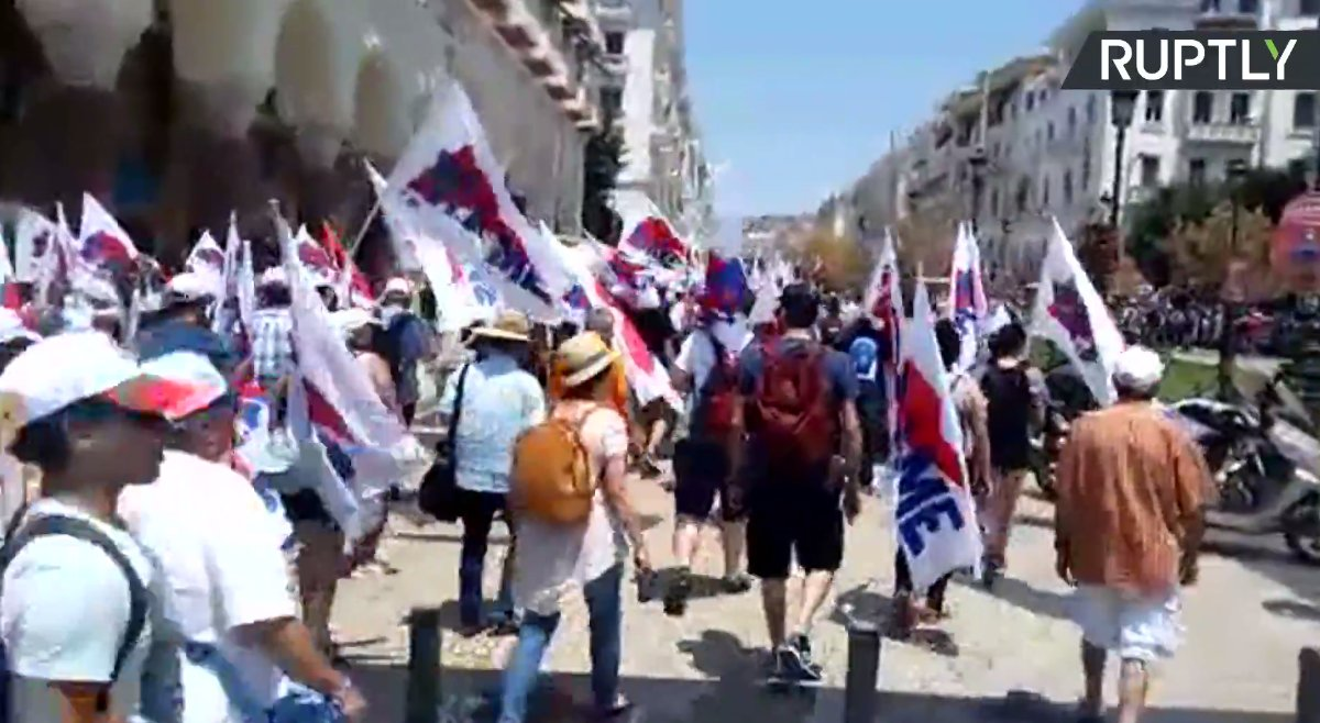 LIVE: Anti-war protesters rally outside NATO offices in Thessaloniki