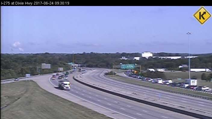 A car accident has closed I-275 Westbound before I-71/75 in NKY