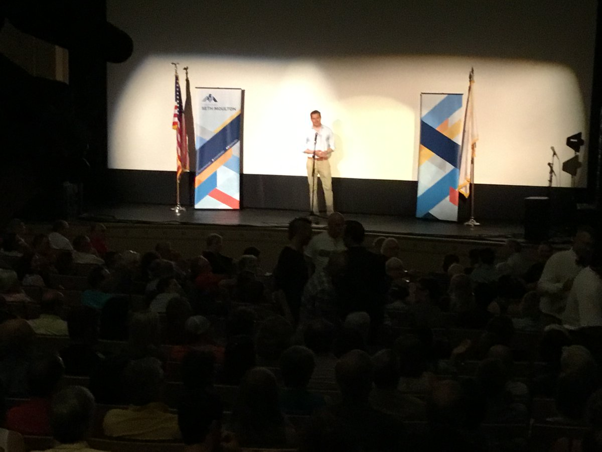 Seth Moulton Town Hall Briefly Interrupted By Audience MemberOutburst