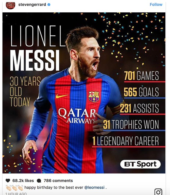 "Steven Gerrard on Instagram: ""Happy birthday to the best ever Leo Messi.\"""