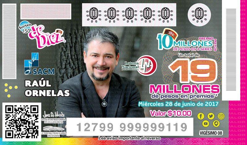 Acompaña el cantante y compositor chiapaneco @raulornelasmx, la serie de billetes del #SorteoDeDiez alusivo a la @SACM_Oficial https://t.co/r6qP4PFN1W